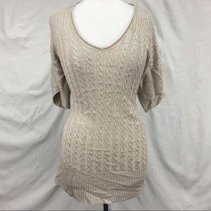 J. Crew Sand Linen Sweater Mini Shift Dress Sz XS